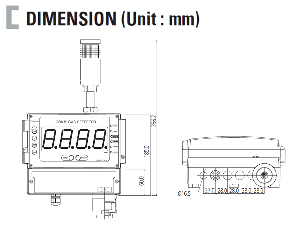 Gas Receiver Combination Flammable Gas Detector SPECIFICATION Dimension
