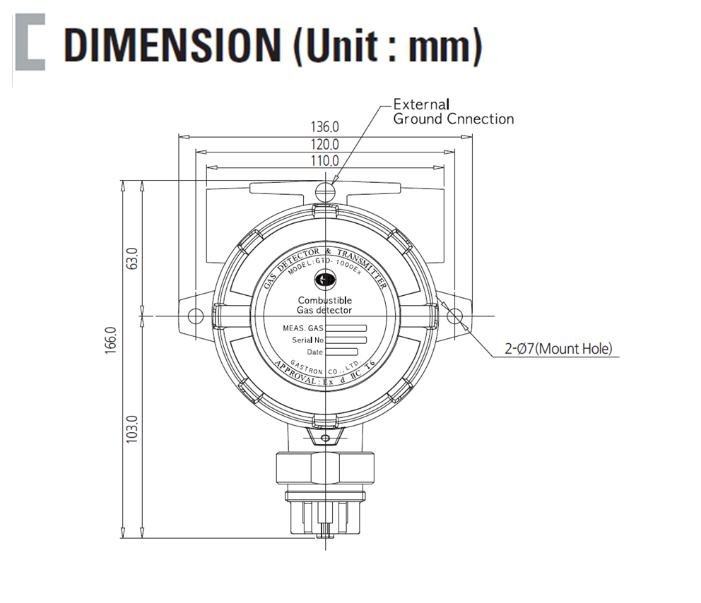 Transmitter Diffusion Flammable Gas Detector Dimension