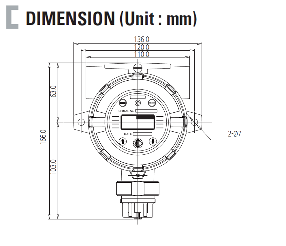 Smart Diffusion Flammable Gas Detector Dimension