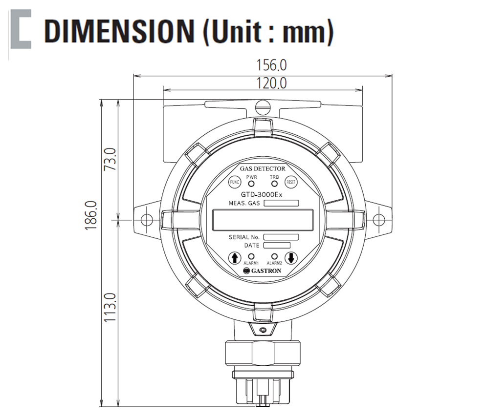 Intelligent Flammable Gas Detector Dimension