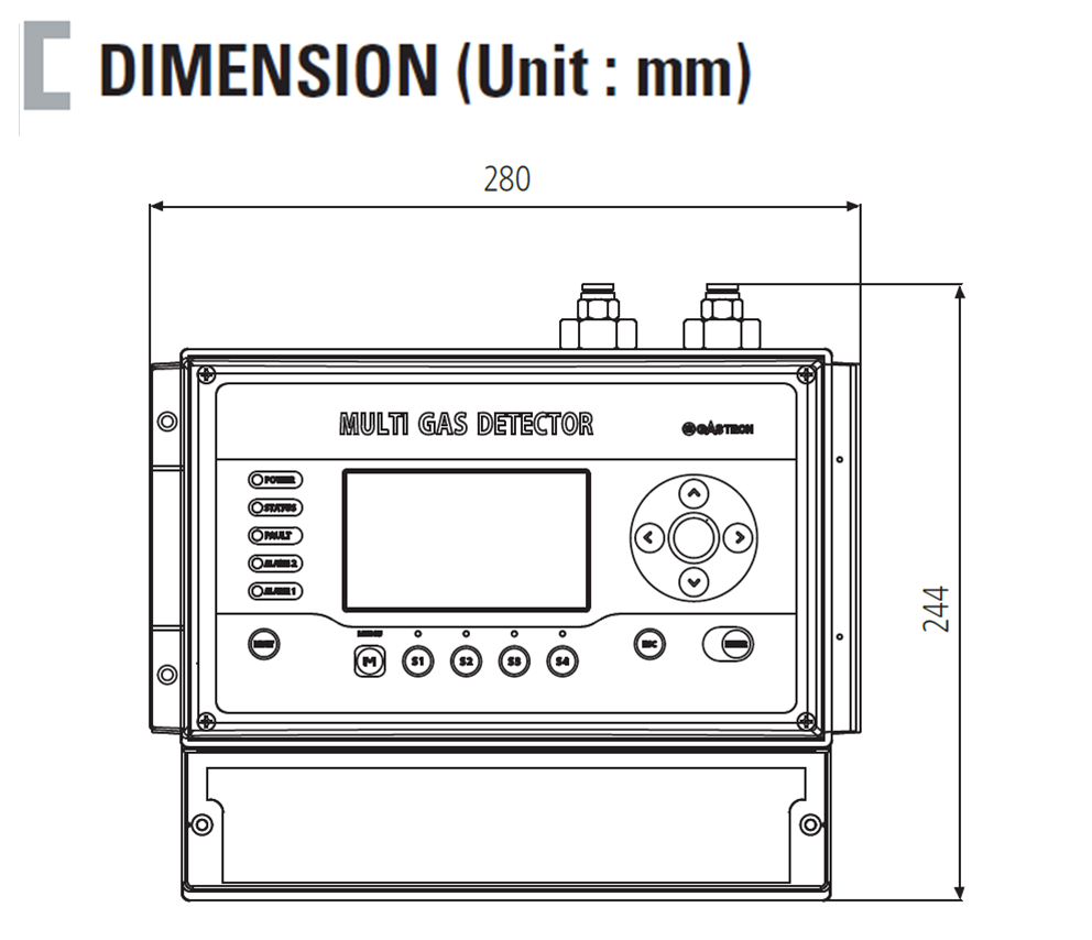 Fixed Type Freon, Flammable MULTI Gas Detector Dimension